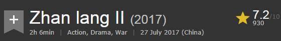 《战狼2》国外影评:可取之处只有动作戏